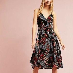 ANTHROPOLOGIE Eri + Ali Floral Burnout Slip Dress